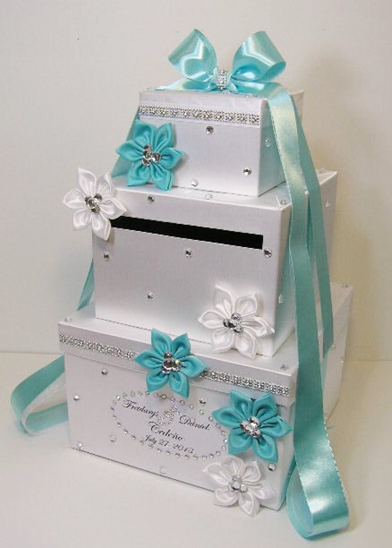 Wedding Card Box Blue And White Gift Card Box Money Box Holder Special Custom Order Customize Your Color