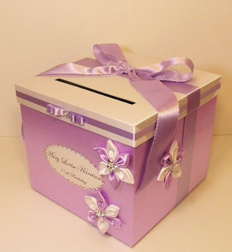 Wedding Card Box Lavender And White Gift Card Box Money Box Holder Quinceanera Sweet 16 Customize Your Color 10x10x9