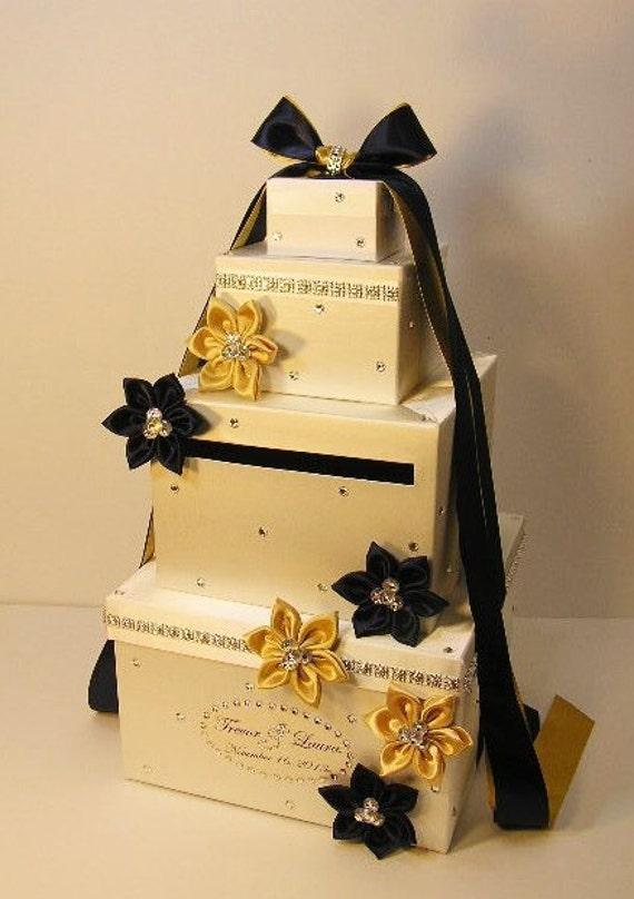 Wedding Card Box Ivory and Gold /Navy Blue Gift Card Box Money | Etsy