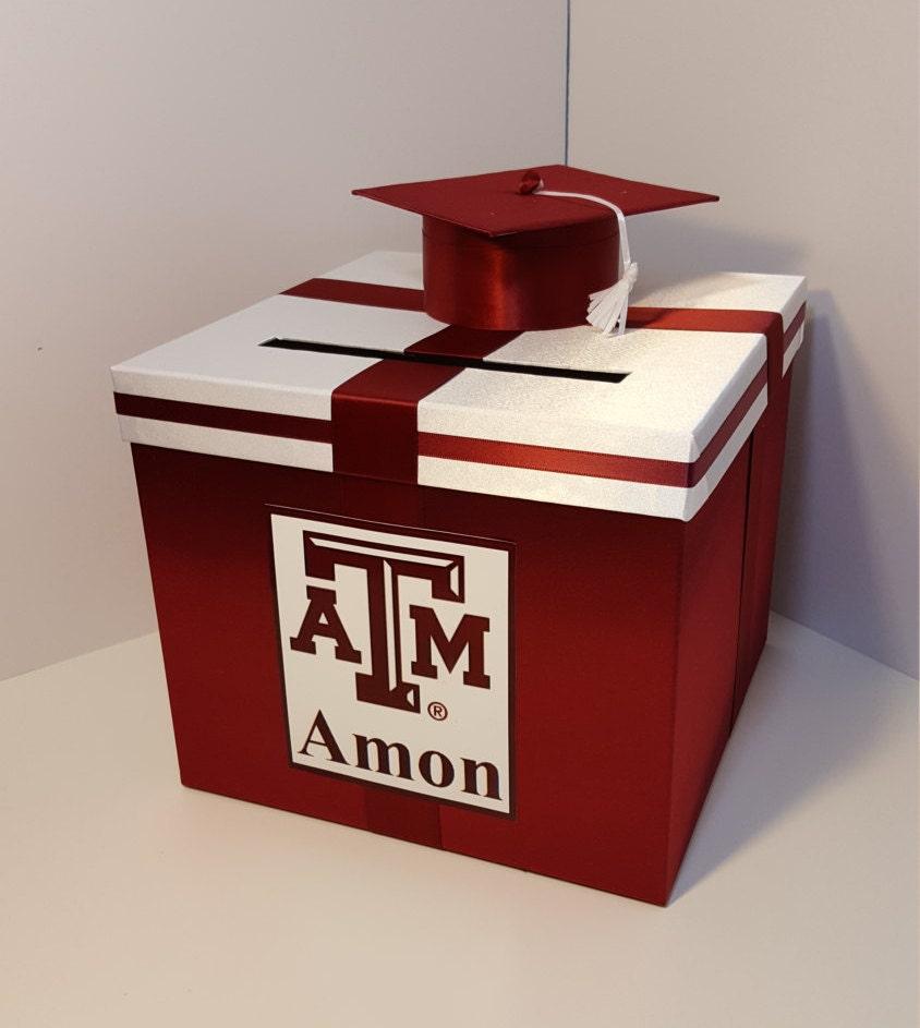 graduation card box maroon and white gift card box money