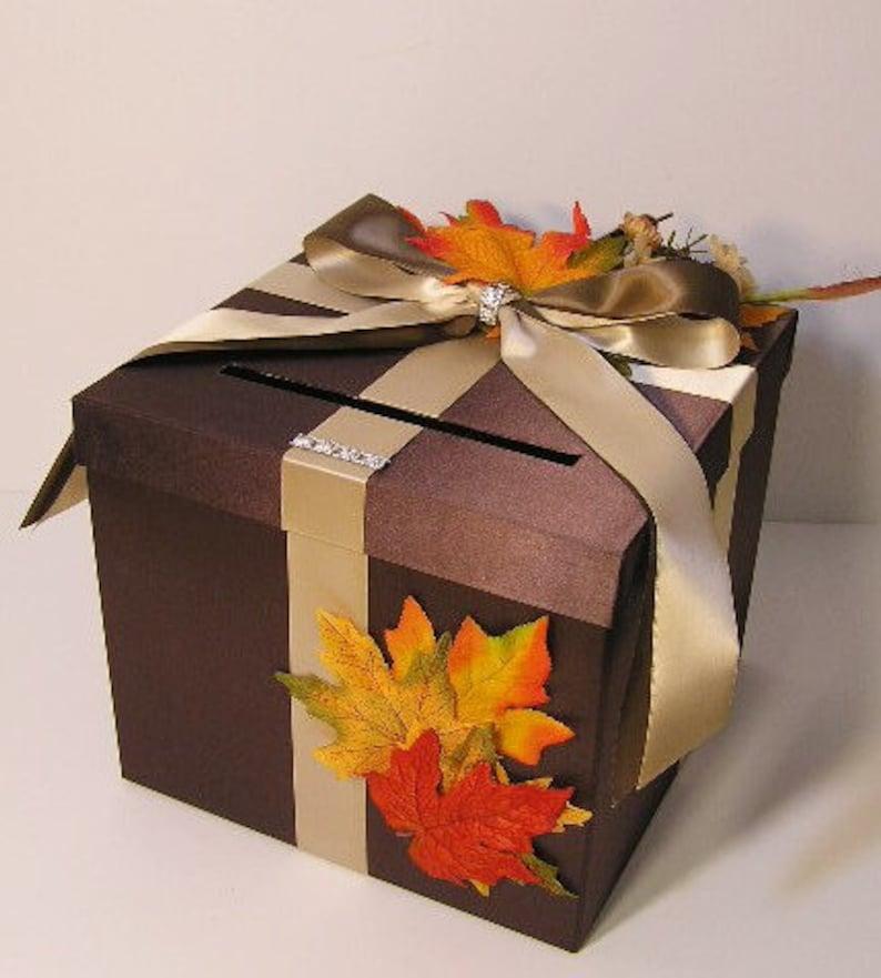 Wedding Card Box Fall Gift Card Box Money Box Holder Customize Made To Order 10x10x9