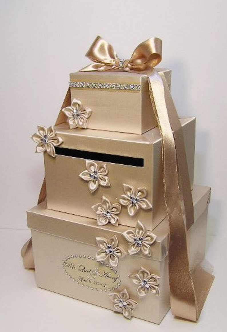 Wedding Card Box Champagne Gift Card Box Money Box Holder Customize Your Color