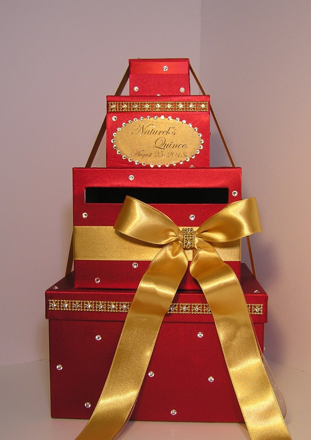 Quinceanera Sweet 16 Birthday Wedding Card Box Gold And Wite