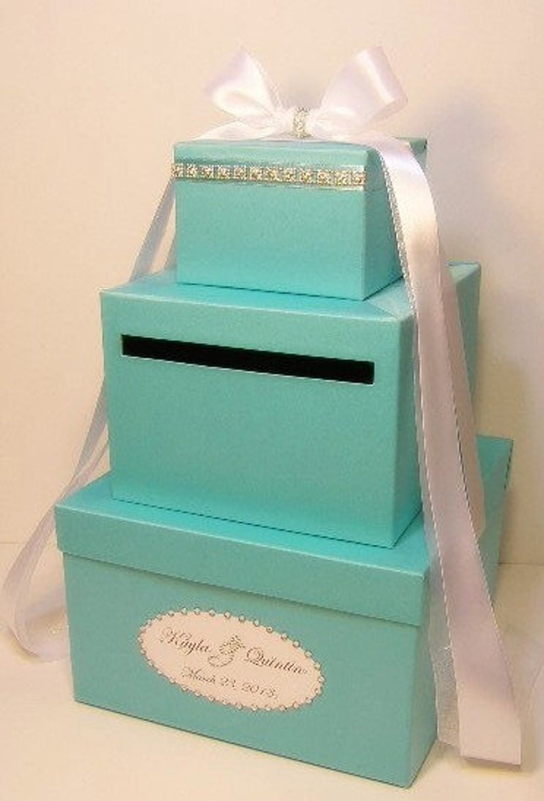 Wedding Card Box Blue 3 Tier Gift Card Box Money Box Holder Customize Your Color