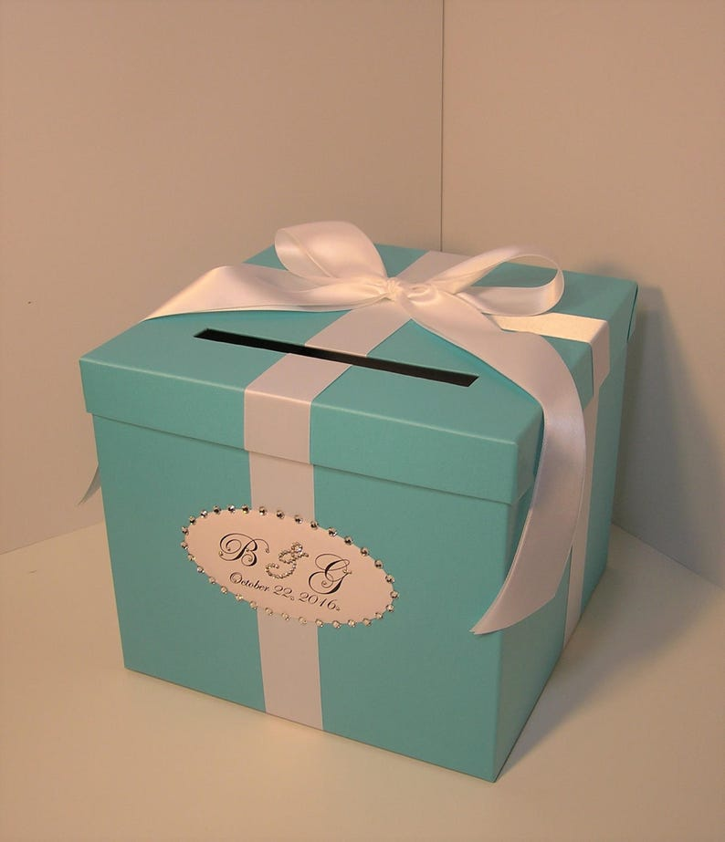 Wedding Quinceanera Sweet 16 Card Box Blue Gift Card Box Money Box Holder Customize Made To Order 10x10x9