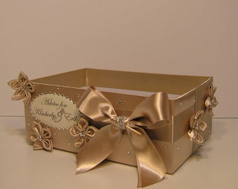 Wedding  Program Box with flowers  Amenities Box Bathroom Accessories Box  - Customize your color