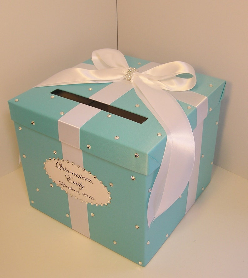 Wedding Quinceanera Sweet 16 Card Box Blue Gift Card Box Money Box Holder Customize In Your Color Made To Order 10x10x9