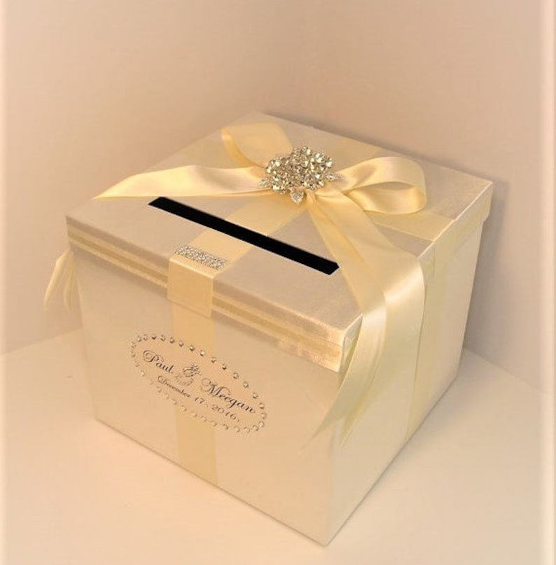 Wedding Quinceanera Sweet 16 Card Box Ivory Gift Card Box Money Box Holder Customize Your Color