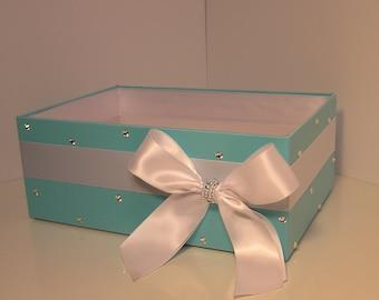 Wedding  Program Box Blue and White Amenities Box Bathroom Accessories Box handkerchiefs Box - Customize your color (One Box)