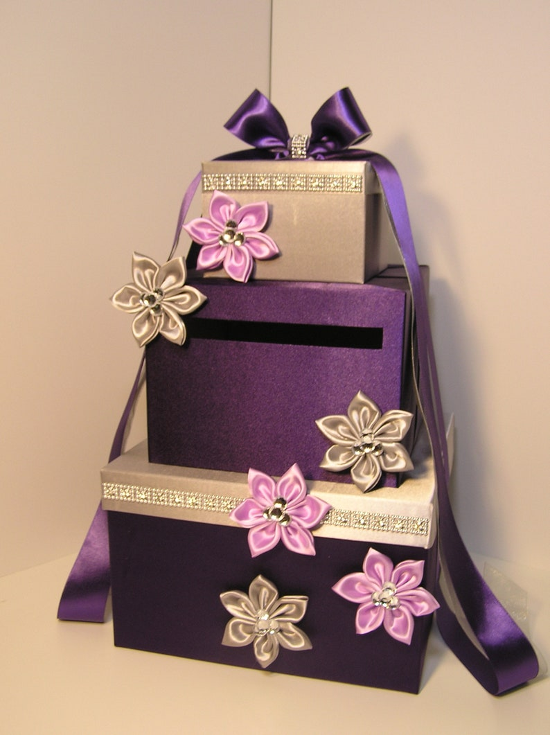 Wedding Card Box Purple Lavender And Silver Gift Card Box Money Box Holder Customize Your Color