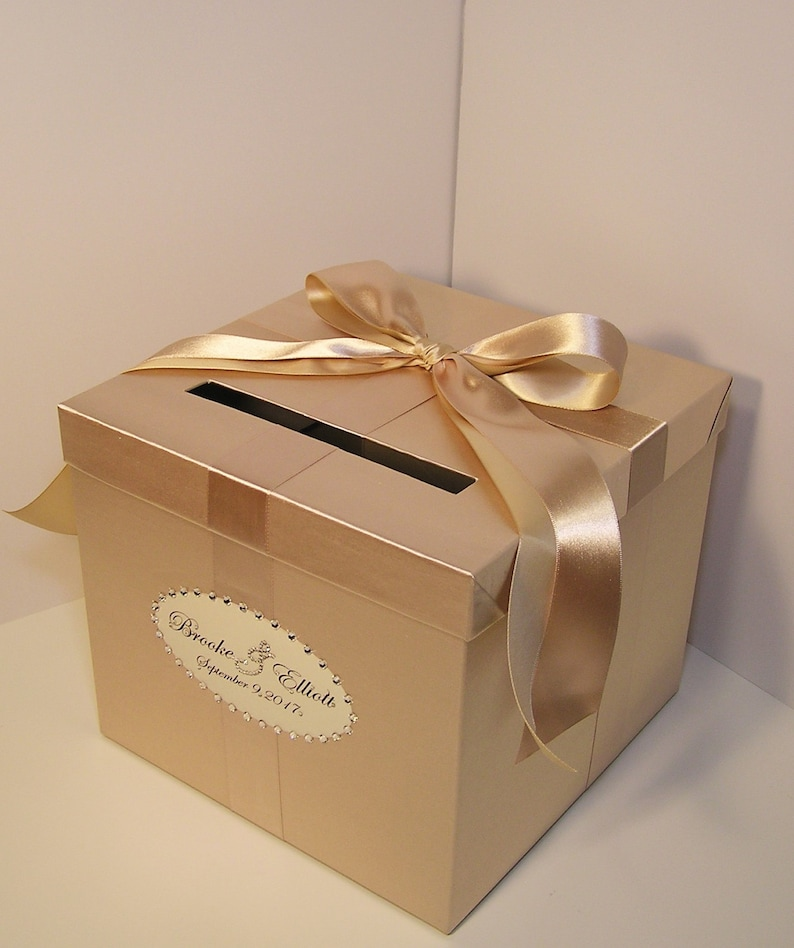 Wedding Quinceanera Sweet 16 Card Box Champagne Gift Card Box Money Box Holder Customize Your Color Made To Order 10x10x9