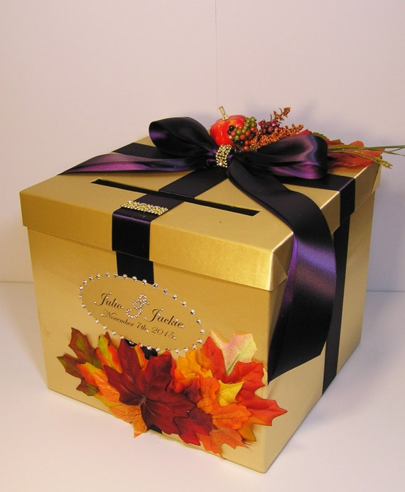 Gift Card Boxes For Weddings: Wedding Card Box Fall Gift Card Box Gold And Purple Money