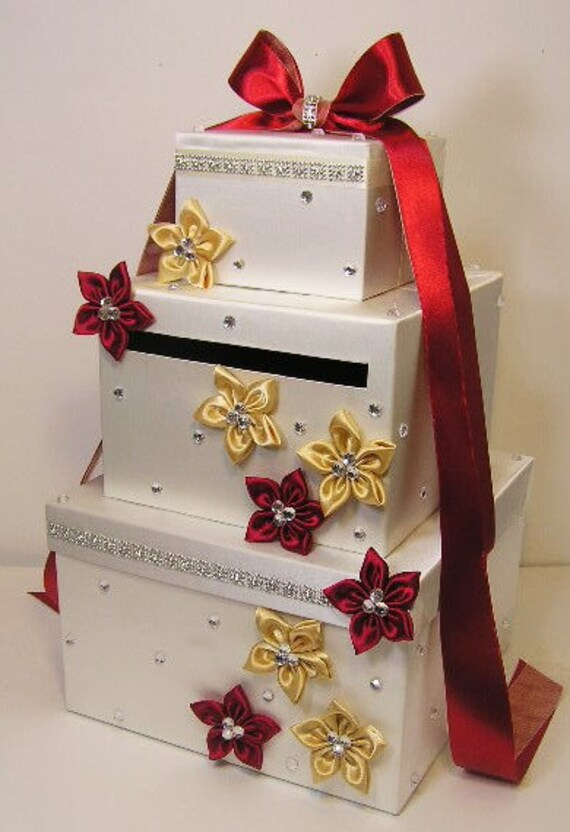 Wedding Card Box Ivory Red Scarlet And Gold Gift Card Box Money Box Holder Customize Your Color