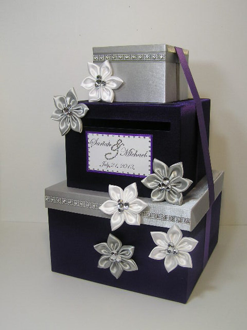 Wedding Card Box Silver And Purple Gift Card Box Money Box Holder Purple And Silver Or Customize Your Color