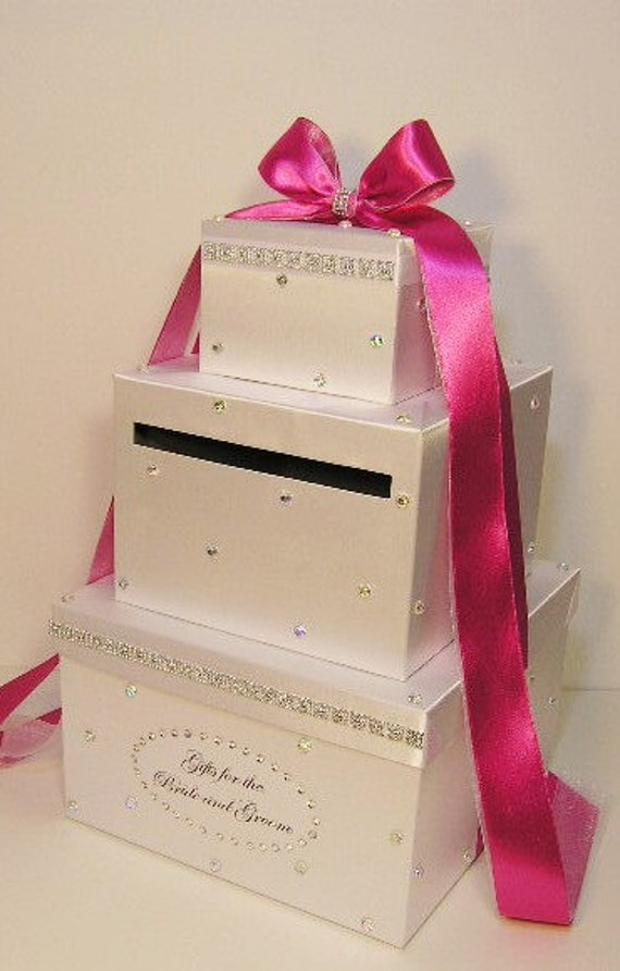 Wedding Card Box White Hot Pink Gift Card Box Money Card Box Customize Your Color