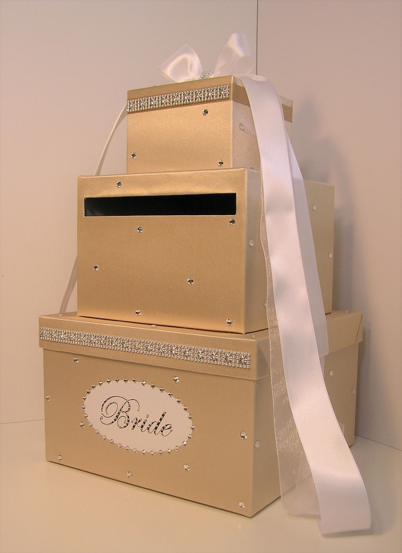 Wedding Card Box Champagne And White Gift Card Box Money Box Holder Customize Your Color