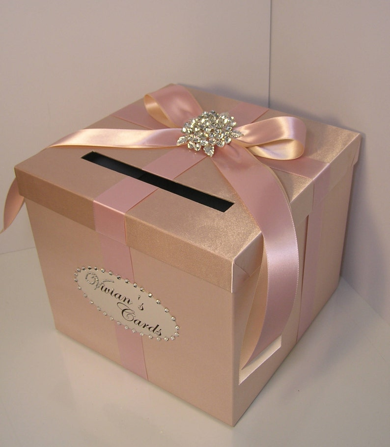 Wedding Quinceanera Sweet 16 Card Box Rose Gold And Blush Pink Nude Gift Card Box Money Box Holder Customize Your Color 10x10x9