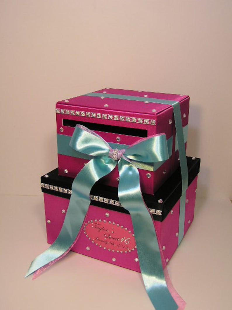 Sweet 16 Wedding Card Box Hot Pink Gift Card Box Money Box Holder Customize Your Color