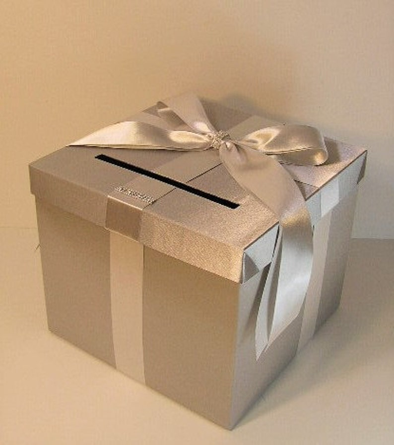 Wedding Quinceanera Sweet 16 Card Box Silver Gift Card Box Money Box Holder Customize In Your Color 10x10x9 Custom Made