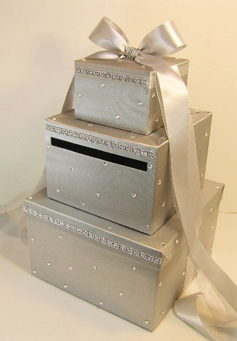 Wedding Card Box Silver Gift Card Money Card Box Holder Customize Your Color
