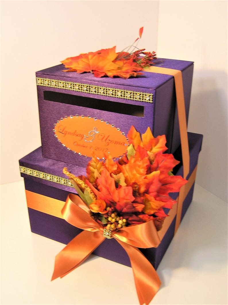 Wedding Card Box 2 Tier Purple And Orange Fall Gift Card Box Money Card Box Holder Customize Your Color