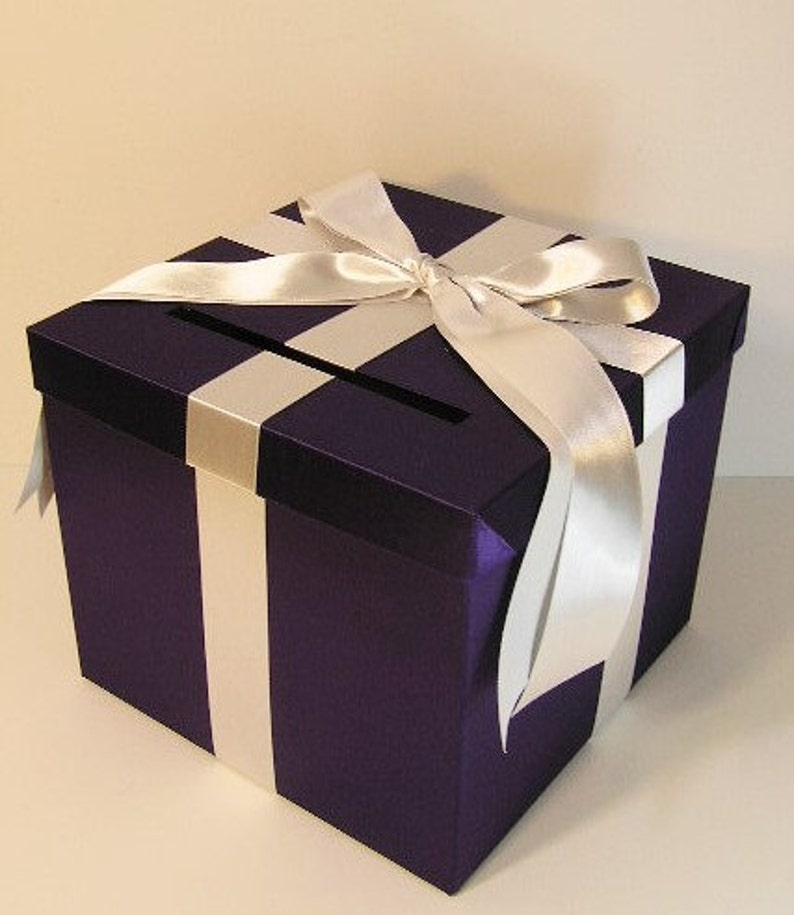 Wedding Quinceanera Sweet 16 Card Box Purple And Silver Gift Card Box Money Box Holder Customize In Your Color 10x10x9 Custom Made