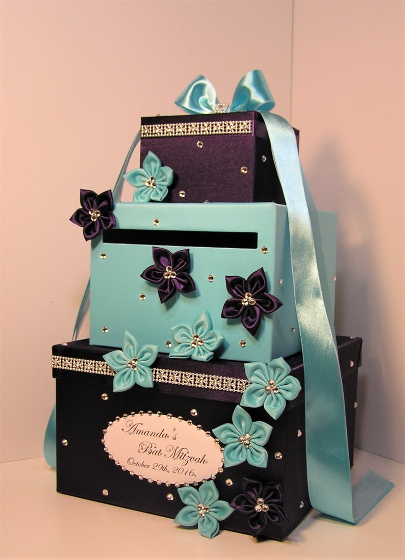 Wedding Card Box Blue And Purple Gift Card Box Money Box Holder Customize Your Color