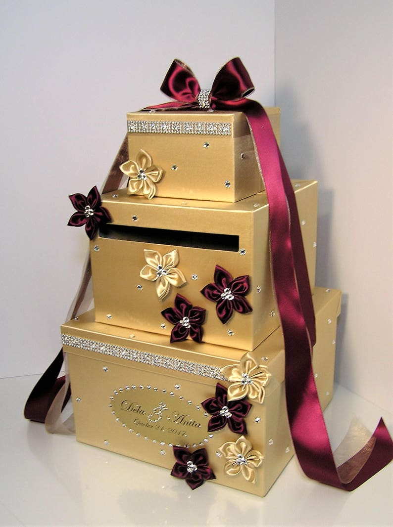 Wedding Card Box Gold And Burgundy Gift Card Box Money Box Holder Customize Your Color