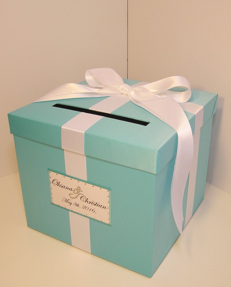 Wedding Quinceanera Sweet 16 Card Box Blue Gift Card Box Money Box Holder Customize Your Color