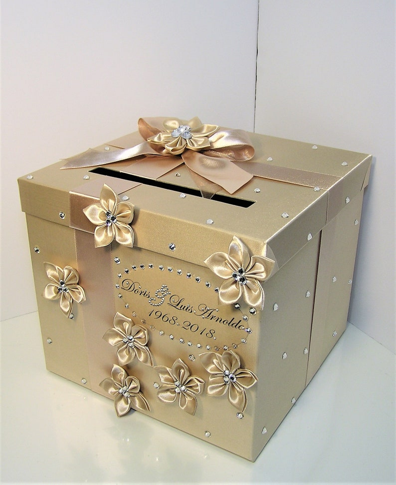 Wedding Quinceanera Sweet 16 Card Box Champagne Color Gift Card Box Money Box Holder Customize Your Color