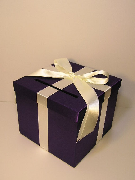Wedding Card Box Purple And Ivory Gift Card Box Money Box Holder Customize Made To Order 10x10x9