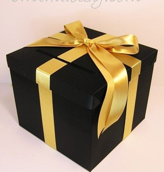 Wedding Card Box Black and Gold Gift Card Box Money Box | Etsy