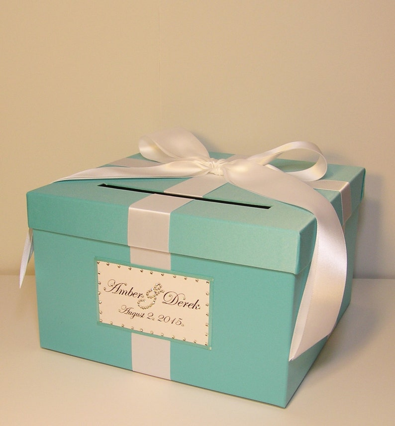 Wedding Quinceanera Sweet 16 Card Box Blue Gift Card Box Money Box Holder Customize Your Color Small Size 10x10x6