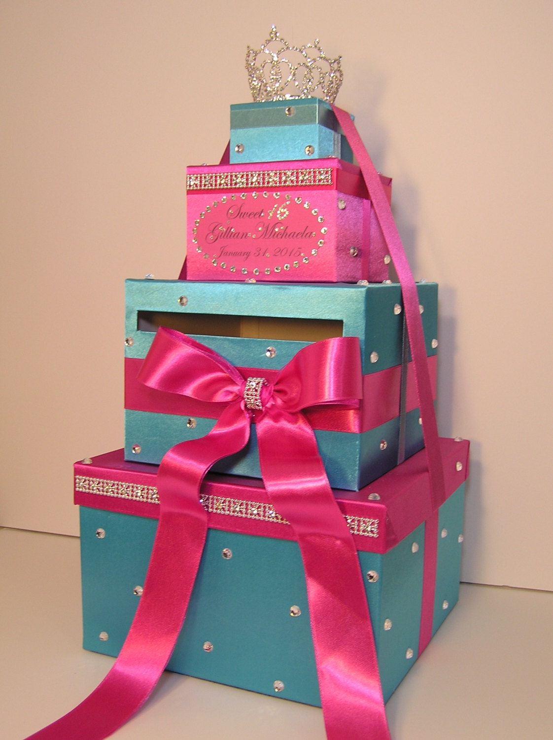 Quinceanera Sweet 16 Wedding Card Box Gift Card Box Hot Pink And Turquoise Money Box Holder Customize In Your Color Custom Made