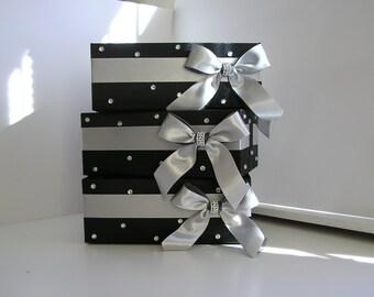 A Wedding  Program Box Black and Silver Amenities Box Bathroom Accessories Box handkerchiefs Box - Customize your color (One Box)