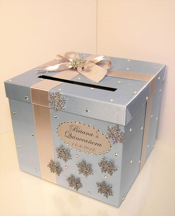 Winter Snowflake Wedding Card Box Blue And Silver Wedding Sweet 16 Quinceanera Birthday Gift Card Box Money Box Holder Customize Your Color