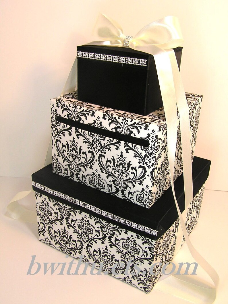 Wedding Card Box Damask And Black Gift Card Box Money Box Holder Customize Your Color