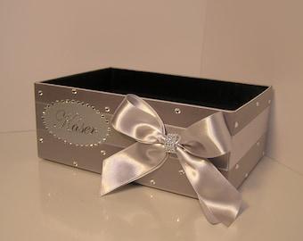 Wedding  Program Box Silver Amenities Box Bathroom Accessories Box handkerchiefs Box - Customize your color