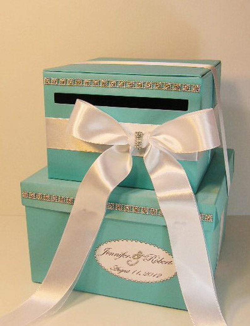 Wedding Card Box 2 Tier Blue Gift Card Box Money Box Holder Customize Your Color