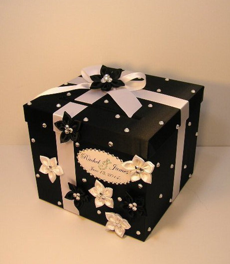 Wedding Card Box Black And White Gift Card Box Money Box Holder Quinceanera Sweet 16 Customize Your Color