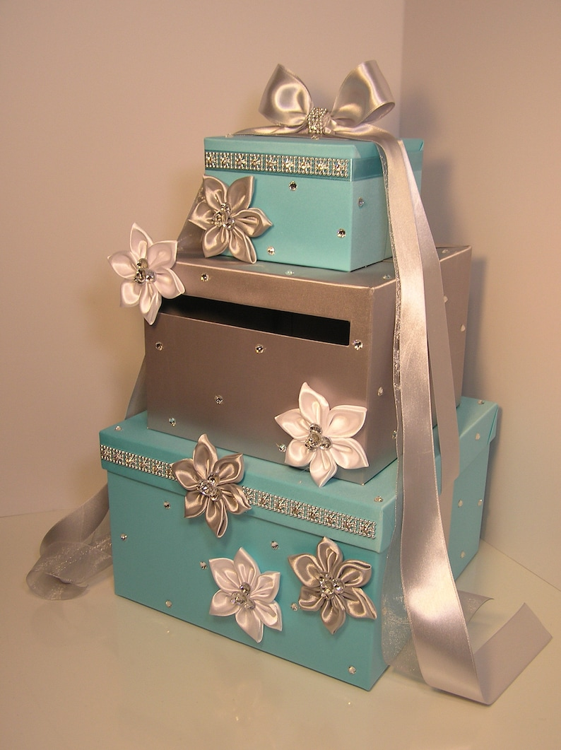 Wedding Card Box Blue And Silver Gift Card Box Money Box Holder Customize Your Color