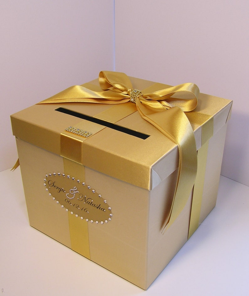 Wedding Quinceanera Sweet 16 Card Box Gold Gift Card Box Money Box Holder Customize Your Color