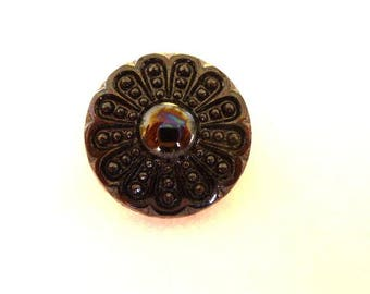 *Available in Quantity* Gold Lustre Tiny Glass Flower button no.00767