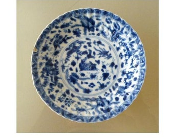Kangxi Chinese Antique 18th Century Blue and White Fluted Dish with Sea Creatures and Wooden Box