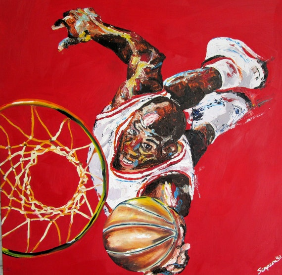 Micheal Jordan Original Basketball Sports art oil Painting