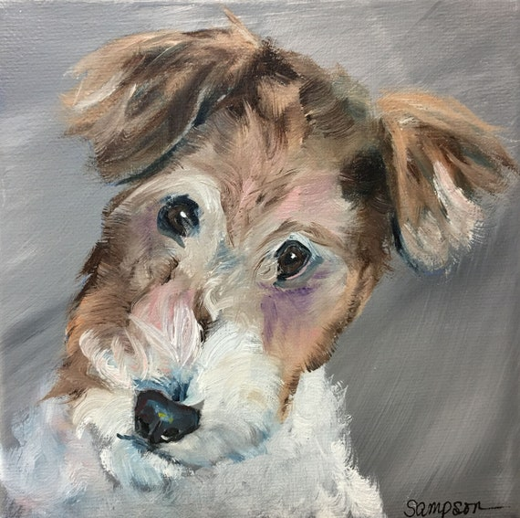 Original oil painting Wire Haired Fox Terrier