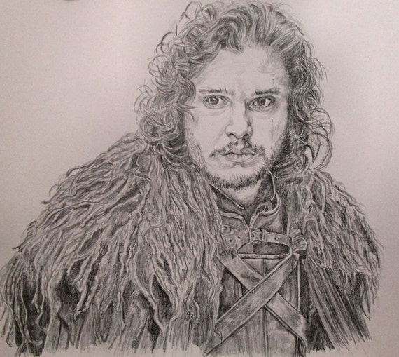 Jon Snow Kit Harington Game of Thrones original graphite drawing