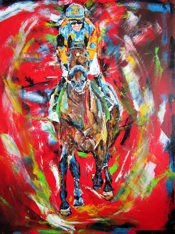 "American Pharoah Horse Racing art limited edition print 11""x14"" with mat signed"