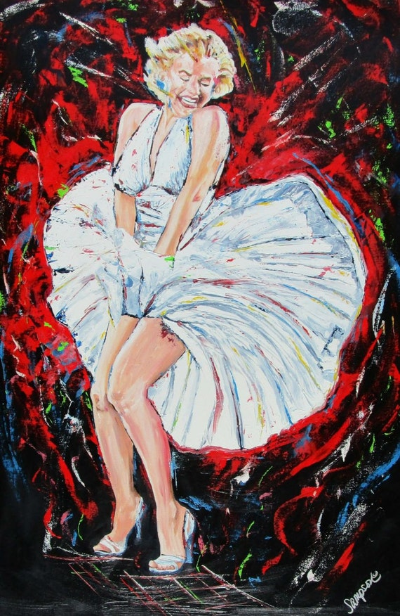 "Marilyn Monroe original oil painting on canvas 24"" x 36"" ICON Movie Star FREE SHIPPING"