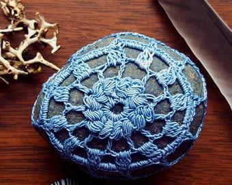 Mandala Stone, Indigo Blue, Boho Lace Home Decor, Natural Dye